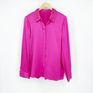 Ellie Tahari Embellished Collar Silk Blouse NWT L